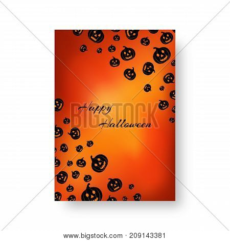 Template for design of postcard with black silhouettes of pumpkins for festive halloween design