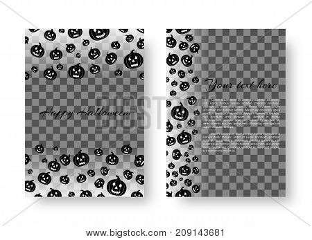 Halloween invitation template with flying black pumpkins for festive decoration