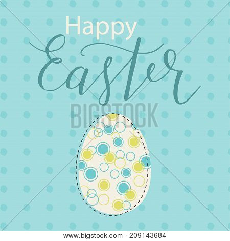 Colorful Happy Easter greeting card with rabbit bunny and text. Postcard text templates. Happy easter lettering modern calligraphy style.