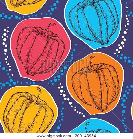 Vector seamless pattern with dotted Physalis or Cape gooseberry or Ground cherry fruits on the blue background. Pattern with Physalis plant in dotwork style for autumn design.