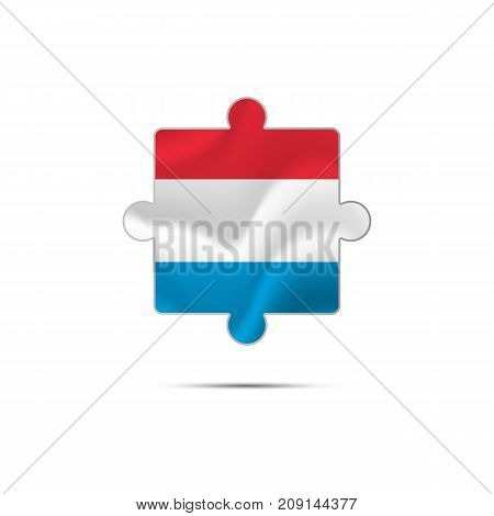 Isolated piece of puzzle with the Luxembourg flag. Vector illustration.