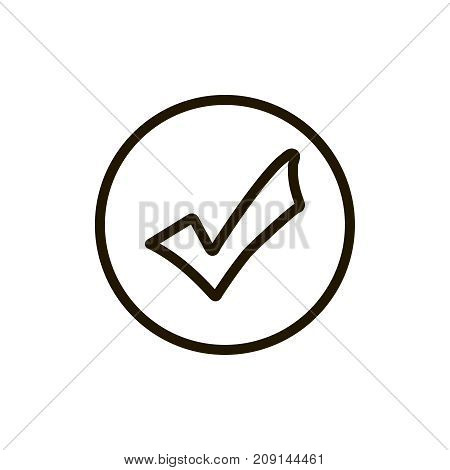 Check mark icon flat icon. Single high quality outline symbol of info for web design or mobile app. Thin line signs of technology for design logo, visit card, etc. Outline logo of check