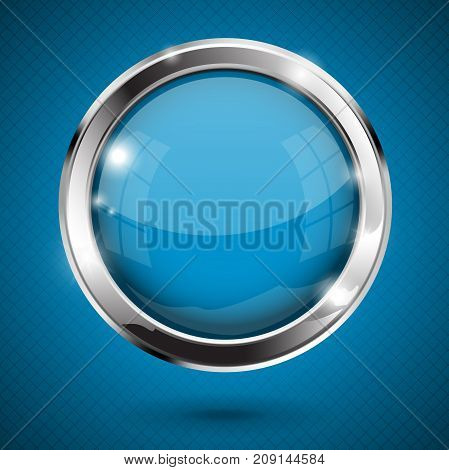 Blue shiny button. Round glass web icon. Vector 3d illustration on blue background