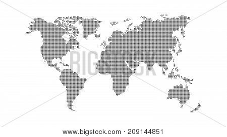 Abstract world map. Dark map of the earth from the square points on a white background. Global network. Vector illustration