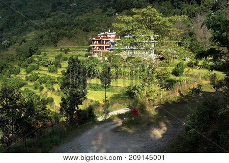 NEPAL. POKHARA - OKTOBER 28 2016 : Hotel Green Hills in Sedi Bagar on the outskirts of Pokhara. Pokhara second most important and largest city of Nepal.