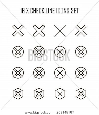 X mark icon set. Collection of high quality outline technology pictograms in modern flat style. Black close symbol for web design and mobile app on white background. Delete line logo.