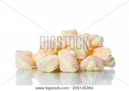 sweet multi-colored candy marshmallow on white background