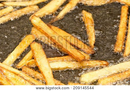 French fries fried in a pan . Photos in the studio