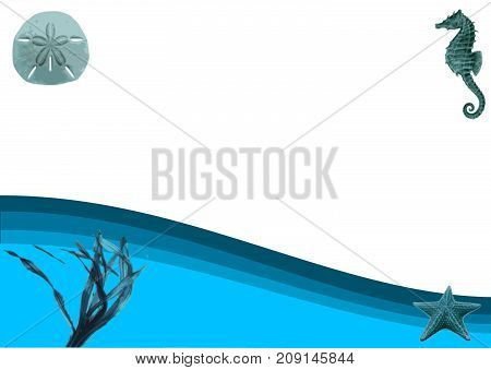 Abstract Ocean 3D Illustration vector background on white.