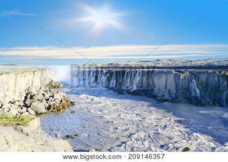 the Iceland, Godafoss beautiful waterfall in island