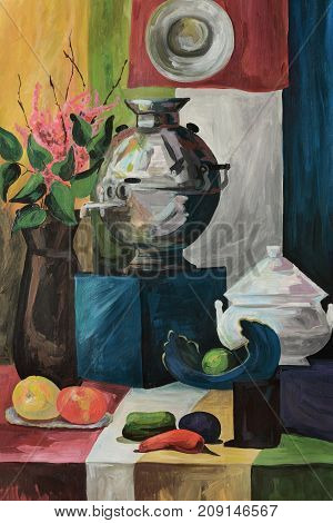 Old still life with a samovar and dishes with fruits flowers painted on canvas with oil