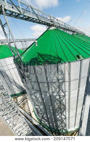 Metal silos of a modern granary. A sunny summer day.