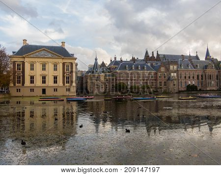 The Hague the Netherlands - 12 October 2017: Mauritshuis museum and historic Binnenhof buildings in The Hague