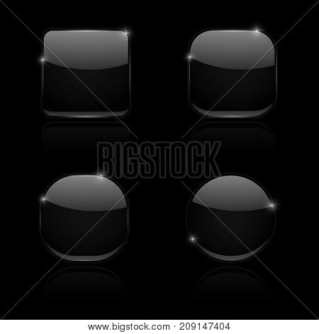 Black glass buttons. Round and square shiny 3d icons with reflection. Vector illustration on black background