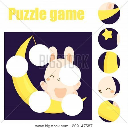 Puzzle for toddlers. Matching children educational game. Match pieces and complete the picture. Activity for pre school years kids with cute moon rabbit