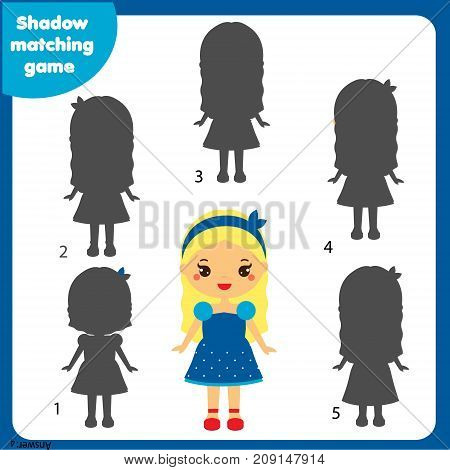 Shadow matching game for children. Find the right shadow. Activity for preschool kids with beautiful girl