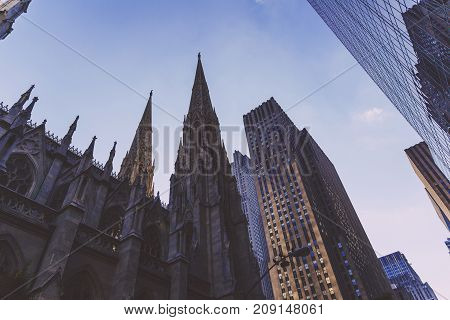 NEW YORK NEW YORK - September 4th 2017: Detail of St Patrick's Cathedrail in Manhattan NYC