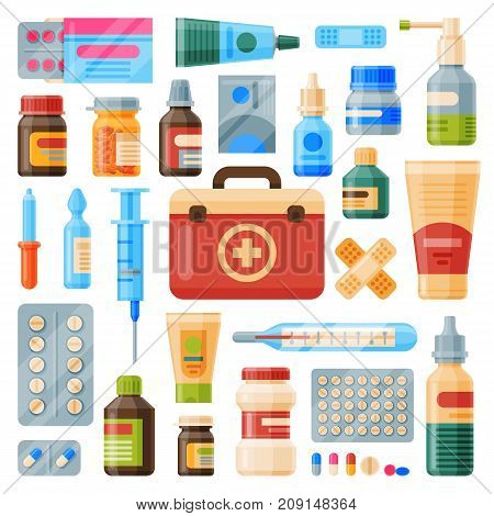 Medical instruments first-aid set outfit medicine chest and doctor tools flat medicament medication hospital health treatment vector illustration