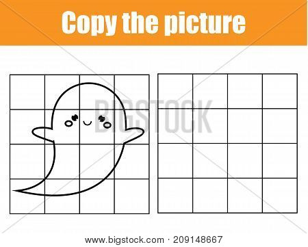 Grid copy picture activity. Educational children game. Printable Kids activity sheet with ghost.