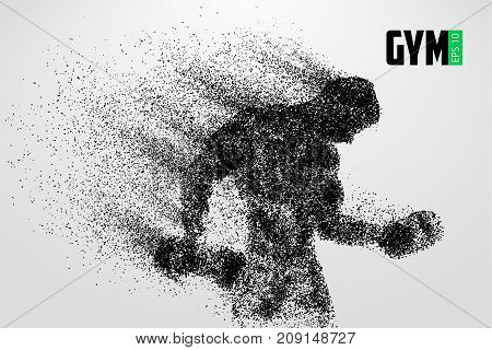 Silhouette of a bodybuilder. Text and background on a separate layer, color can be changed in one click. Vector illustration
