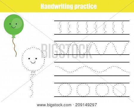 Handwriting practice sheet. Educational children game, printable worksheet for kids. Writing training printable worksheet with waves and balloon