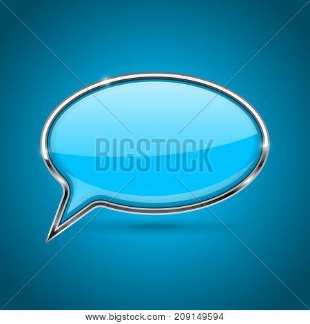 Speech bubble. Blue 3d icon with chrome frame. Vector illustration