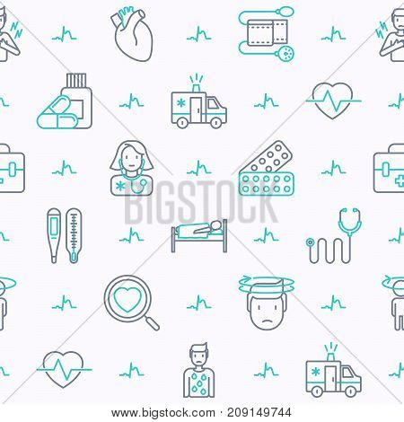 Heart attack seamless pattern with thin line icons of symptoms and treatments. Modern vector illustration for medical report or survey, banner, web page, print media.