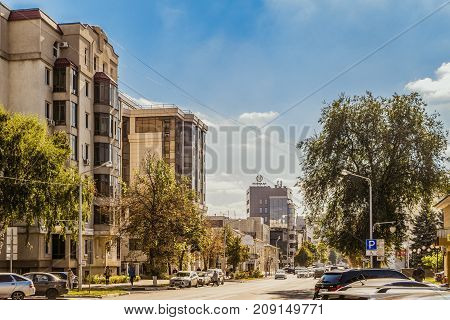 Belgorod Russia - September 29 2017: Street Prince Trubetskoy. Cityscape with a roadway residential apartments buildings and business office home.