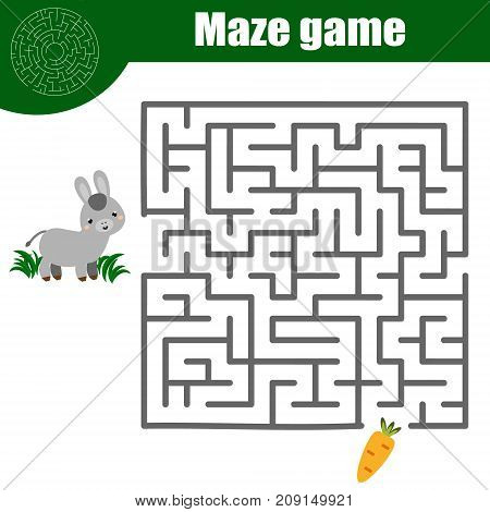 Maze children game: help donkey go through the labyrinth and find food. Kids activity sheet, animals theme