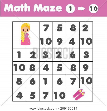Maze children game: help the dog go through the labyrinth and find food. Kids activity sheet. Mathematics maze. Counting from one to ten