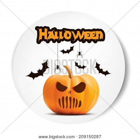Pumpkin horror face on white background. Pumpkin scary face halloween. Vector illustration of evil pumpkin. Good for greeting cards, party invitation, posters, labels and banners