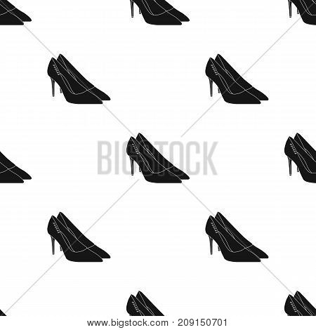 Women s leather shoes with heels. Casual shoes for women dress. Woman clothes single icon in black style vector symbol stock web illustration.