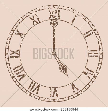 Retro round clock with roman numerals. Five o'clock. Vector illustration on beige background