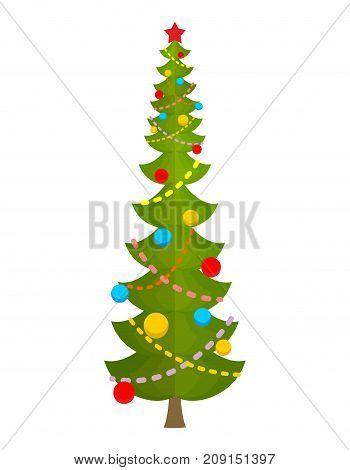 Big Christmas Tree. Huge Spruce. Large Fir. New Year Vector Illustration