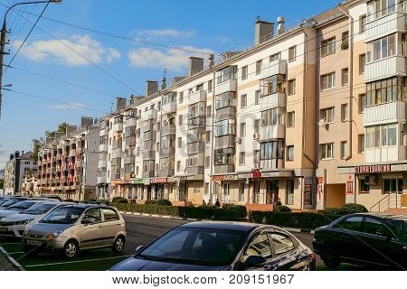 Belgorod Russia - September 29 2017: Prospect of Glory. Wall of old typical Soviet residential buildings of the Khrushchev era. Old city center. Urban environment.