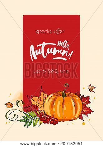 Autumn welcome banner with autumnal pumpkin, fallen leaves and forest berry. Fall season harvest pumpkin vegetable, orange maple foliage, acorn and rowanberry branches poster for autumn themes design