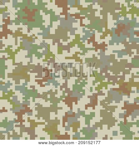 Pixel camo pixel seamless pattern. Vector illustration