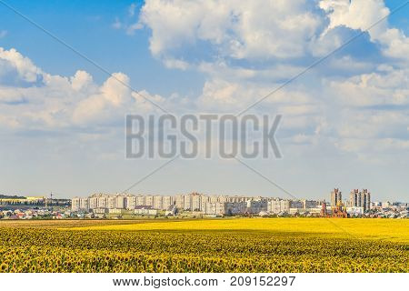 Gubkin city skyline Belgorod region Russia. City of iron ore metallurgy is located near the world's largest quarry for the extraction of non-combustible minerals.