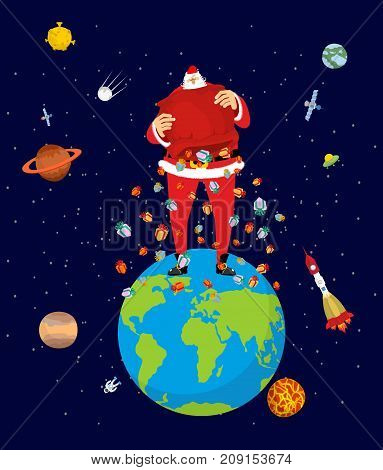 Big Santa Claus On Earth. Christmas On Planet. Big Red Bag And Many Gifts. Xmas Vector Illustration
