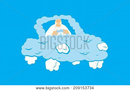 God in Cloud car. Almighty in auto from clouds. deity in Heavenly transport. Vector illustration
