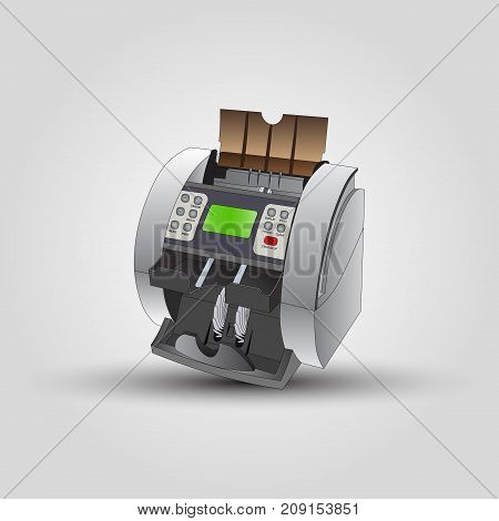 The counting machine for the money. Vector illustration.