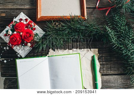 On Wooden Old Table Are Items On The Theme Of The New Year