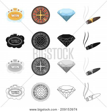 Plate to play, a roulette wheel, a diamond casino symbol, a smoking cigar. Casino set collection icons in cartoon black monochrome outline style vector symbol stock illustration .
