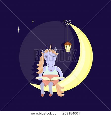 Funny animal character. The unicorn sits on a month and reads a book. Vector illustration eps 10
