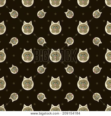 Vector pattern of painted cats with different emotions.