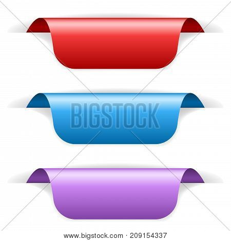 Colored sticker labels with transparent shadow. Vector 3d illustration isolated on white background