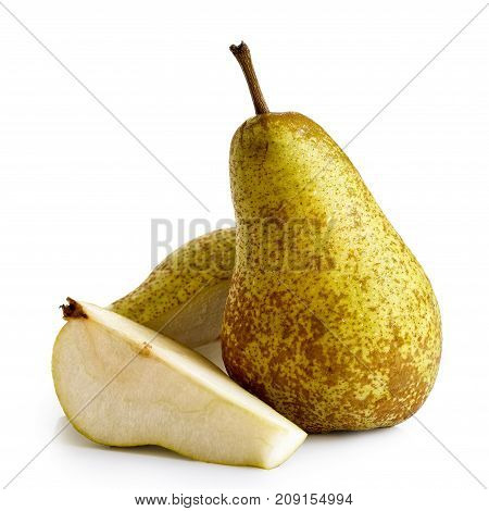 Single abate fetel pear next to a half and a slice of pear isolated on white. poster
