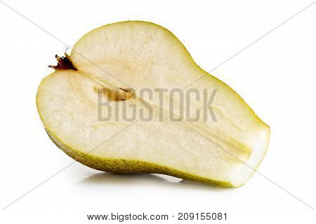 Half of an abate fetel pear isolated on white. poster