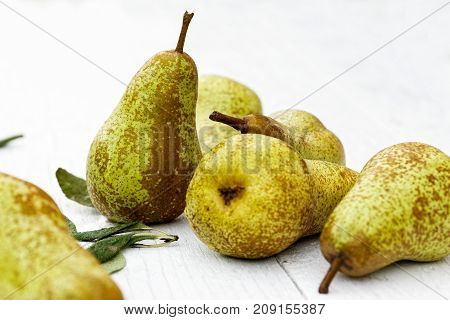 Abate fetel pears with leaves on white painted wood. poster