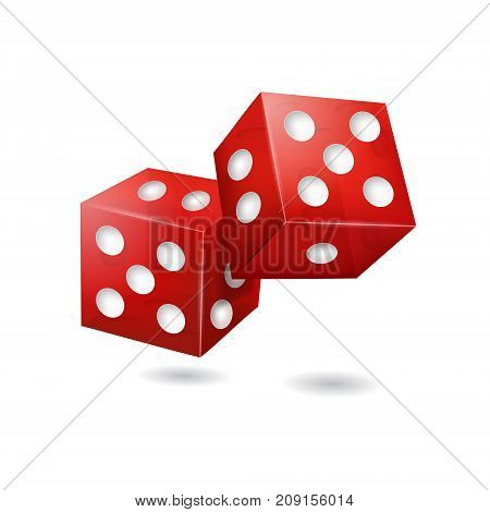 Realistic 3d Two Red Casino Dice with Dot Symbol of Gambling Game, Fortune and Addiction. Vector illustration of Craps